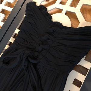 Flowing Corset-look Black Maxi Dress